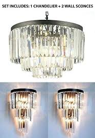 odeon chandelier set of 2 1 crystal glass fringe 3 tier chandeliers lighting 7