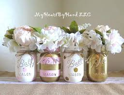 Decorating Mason Jars For Baby Shower Baby Shower Decorations Pink and Gold Centerpieces Mason Jar 6