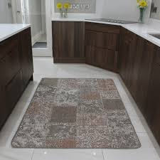Kitchen Floor Mats Uk Small Large Beige Patchwork Rug Non Slip Durable Easy Clean Modern