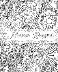 Never Regret Inspirational Fun Quotes Colouring