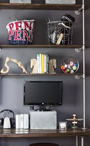 Creative diy pipe shelves design ideas Industrial Shelving Thinner Style Industrial Pipe Shelf And Desk Homedzine How To Make Diy Pipe Shelves