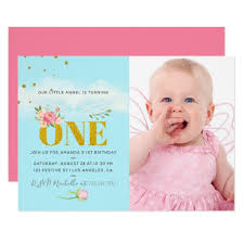 Our Little Angel 1st Birthday Baby Girl Party Invitation