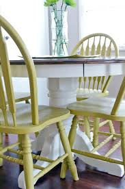 painted wood dining room chairs. use diy chalk paint to refinish an old oak table and chairs! best part is painted wood dining room chairs