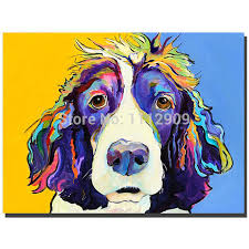 free handmade modern oil painting pictures animal paintings on canvas pop colourful dog wall art