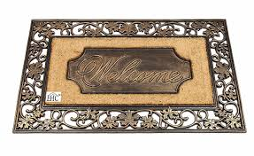 Decorating coir door mats pics : Elite Home Collection Artistic Leaf Welcome Rubber/Coir Doormat ...