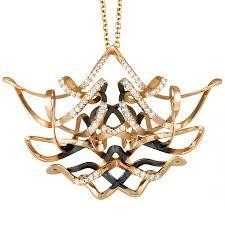 talento italiano 18k rose gold and black rhodium diamond tangled chandelier large pendant necklace