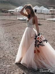 Der ultimative guide für eure hochzeitskleider. Sparkle Perlen Champagner Brautkleider A Line Ruckenfreies Abendkleid