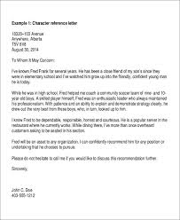 9 Character Letter Of Recommendation Free Sample Example Format