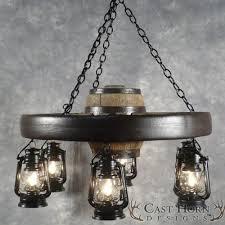 small wagon wheel chandelier with lanterns wwssl