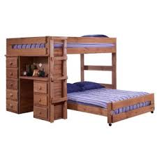 wood bunk bed with desk. Choe Full Over L-Shaped Bunk Bed With Desk And Drawer Wood