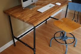 Industrial Pipe Coffee Table Industrial Desk With Oak Top And Steel Pipe Legs