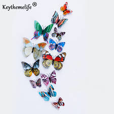 Keythemelife <b>12pcs</b>/lot Glow Butterfly Wall Stickers <b>Double</b> Layer <b>3D</b> ...