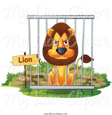 zoo animals in cages clipart. Unique Zoo Clipart Of A Mad Male Lion In Zoo Cage In Animals Cages N
