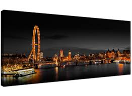 Canvas Art Panoramic Canvas Wall Art Of London Eye At Night For Your Living Room