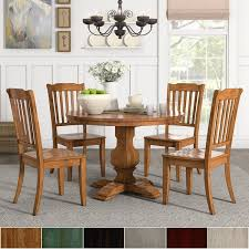 eleanor oak round solid wood top and slat back chairs 5 piece dining set by