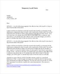 Temporary Layoff Notice Template