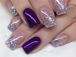 Acrylic Nail Designs Purple Beautiful Sparkles With Added Purples In 2020 Purple