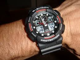 men s casio g shock alarm chronograph watch ga 100 1a4er watch my new watch came today and its a cracker i have had g shocks before so i no the build quality is top notch this watch looks fantastic and has loads of