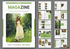 Magazines Layouts Ideas Magazine Layout With Green Accents Buy This Stock Template