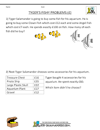 th grade math problems printable math problems tygers fishy problems pounds