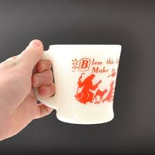 red glass mug fresh milk glass coffee mug fire king mug d handle bless this food