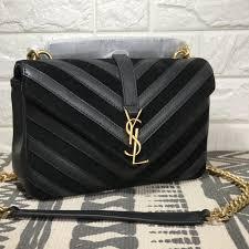 College Designer Bags Ysl Saint Laurent Woman College Bag V Pattern Suede Leather