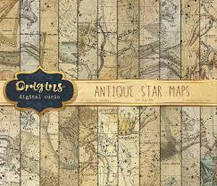 Star Maps Digital Paper Constellation Celestial Atlas Zodiac Star Chart Scrapbook Paper Pack