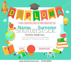 kindergarten preschool elementary school kids diploma stock vector  kindergarten preschool elementary school kids diploma certificate background design template vector illustration