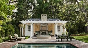 pool house ideas. Amazing Pool House Designs For Small Family: Stunning Traditional Outdoor Firepace Ideas · «« S