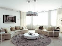 living room cream leather upholstery sofa mixed with curve large glass windows covered white transpa curtains