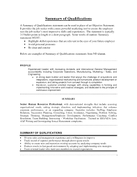 Resume Summary Of Qualifications Sample Entry Level Fresh Bunch