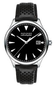 movado heritage leather strap watch 40mm nordstrom