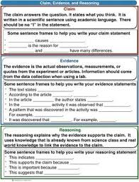Scientific Explanation Summary Claim Evidence Reasoning Blank