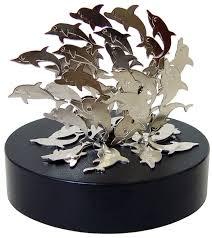 cool jumping dolphins desktop magnetic sculpture lots of small metal dolphins to create a unique