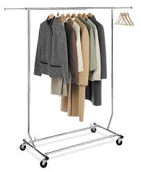 silver metal portable coat rack
