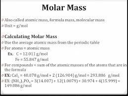 The Mole Molar Mass 0 Also called atomic mass, formula mass ...