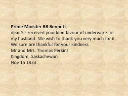 Dear Mr Prime Minister Dear Prime Minister Rb Bennett It Is