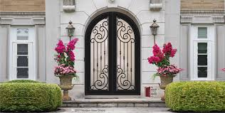 modern double entry doors. Transitional Style Front Doors: Arched Paris Double Door, Modern Metal Doors Entry