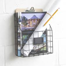 magazine rack wall mount: mesh wire wall mount hanging file folder mail organizer document storage magazine rack black