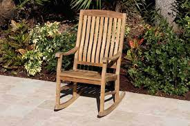 2 teak rocking chairs 18in side table