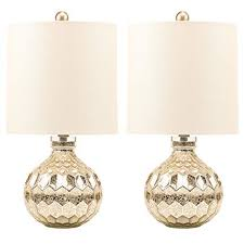 2 x Silver Hexagon Mercury Glass Table Lamp With White Linen Drum ...
