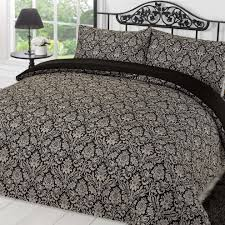 dreamscene sanctuary damask duvet cover with pillow case black grey double on on