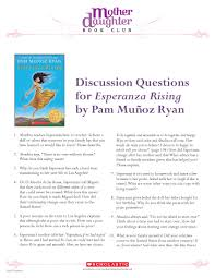 discussion questions for esperanza rising by pam mu atilde plusmn oz ryan discussion questions for esperanza rising by pam muatildeplusmnoz ryan this is one of my favorite chapter books for young readers