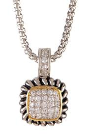image of molly n mark two tone square pave simulated diamond pendant necklace