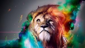 Wallpaper lion, big cat, face, smoke ...