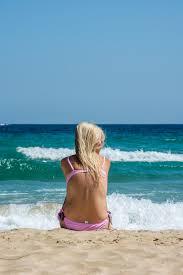 lonely on the beach premium photo