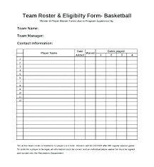 Basketball Team Roster Template Easy Roster Template Easy