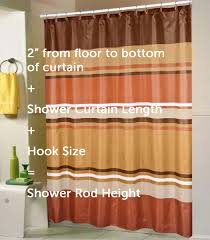 with a standard shower curtain height at 70 or 72 inches adding at least three inches will give you a good indication about the ideal shower curtain rod