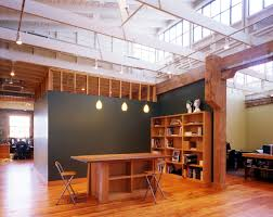 home office designs wooden. Office \u0026 Workspace : Wooden Design Feature Grey Wall Themes With Expose Construction Ceiling Scheme And Rectangular Table Home Designs