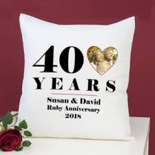 personalised 40th wedding anniversary photo cushion image